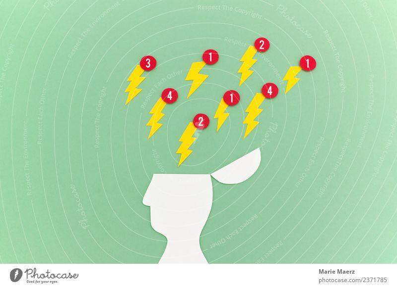 Stress auf das Gehirn durch Handy-Benachrichtigungen Mensch grün Kopf Denken Kommunizieren Telekommunikation Zukunft gefährlich Pause Macht Konzentration Blitze