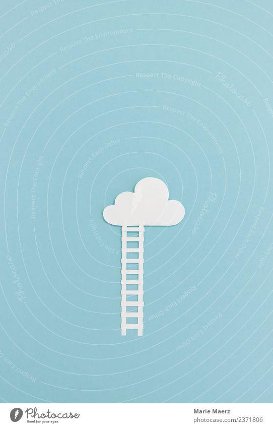 Treppe in die Wolken Bildung lernen Karriere entdecken machen Unendlichkeit Neugier blau Tugend Mut Interesse Freiheit Horizont träumen Höhe Ziel Gedanke