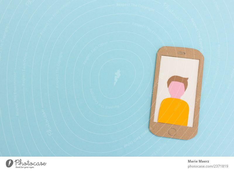 Profil eines Smartphone-Nutzers auf dem Handy-Display Lifestyle PDA Internet maskulin Mann Erwachsene Kommunizieren modern blau Neugier Interesse Identität