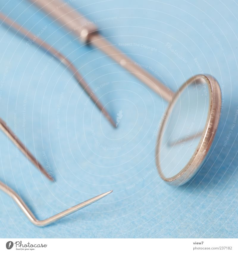 Zahnarzt blau kalt Metall Ordnung Beginn modern frisch authentisch Gesundheitswesen neu gut Zeichen Spiegel Dienstleistungsgewerbe Arzt positiv