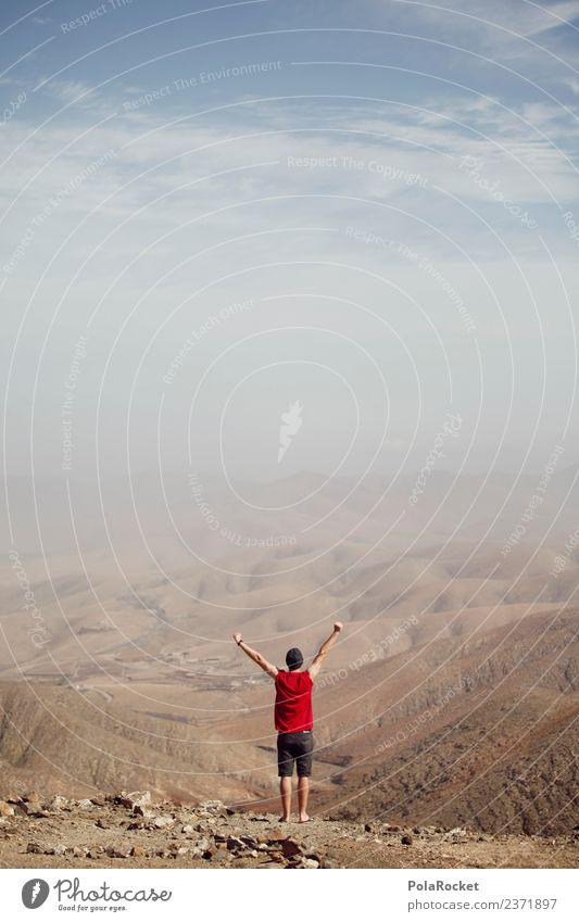 #AS# Freiheit II Glück Fröhlichkeit Kunst Abenteuer Sieg Erfolg frei zeitlos Ferne Berge u. Gebirge Mensch Junger Mann Abenteurer wandern rot einzeln träumen