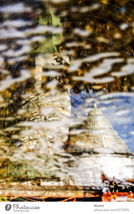 Glaubenskrise Wasser Himmel Schönes Wetter Teich Dorf Kirche Brunnen Gotteshäuser Zeichen Reflexion & Spiegelung Spitze mehrfarbig weiß Toleranz