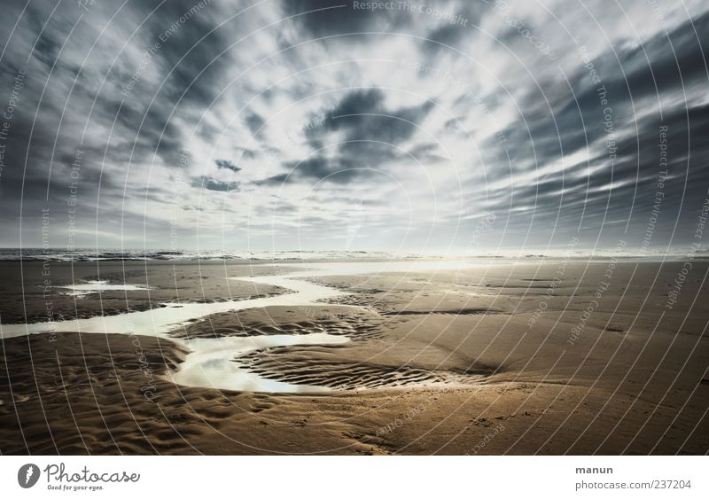 Watt'n Wetter Himmel Natur Wasser Ferien & Urlaub & Reisen Sonne Meer Strand Wolken Ferne Landschaft Küste Freiheit Sand Horizont Wind