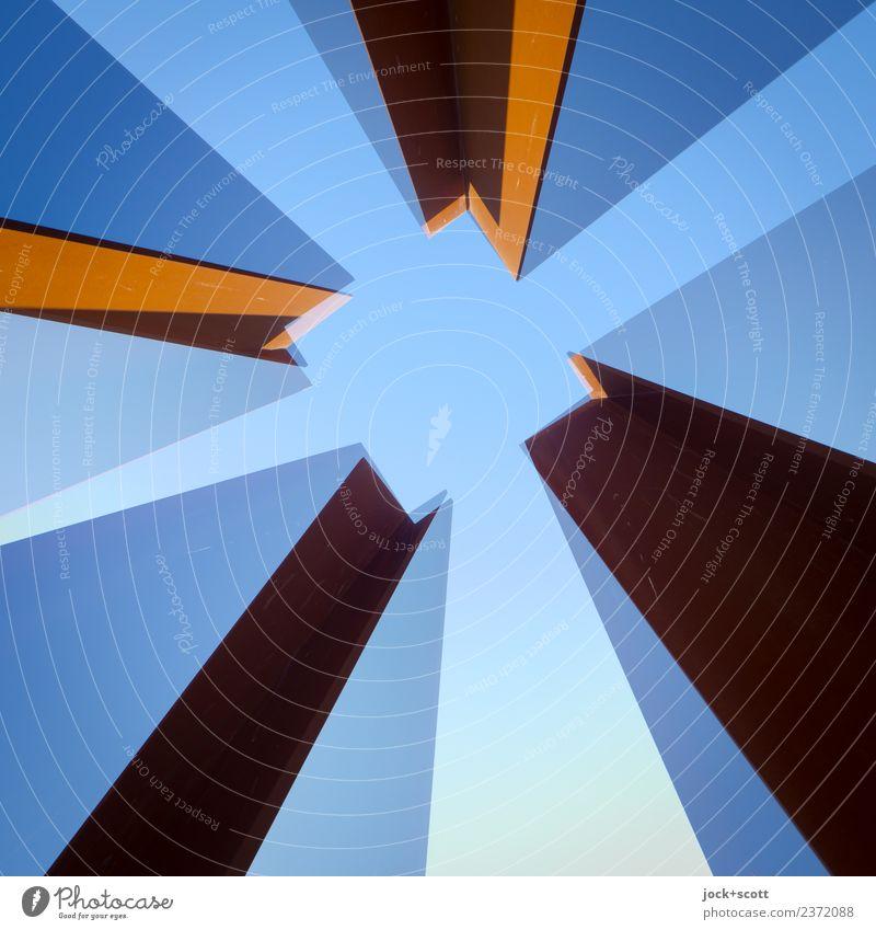 im Quadrat hoch zwei\3 blau Architektur Stil Kunst außergewöhnlich Stimmung Metall Perspektive Wandel & Veränderung Streifen lang eckig Doppelbelichtung