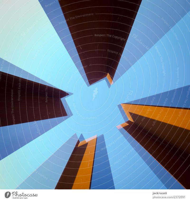 im Quadrat hoch zwei\1 blau Architektur Stil Kunst außergewöhnlich Stimmung Metall Perspektive Wandel & Veränderung planen Streifen lang eckig Doppelbelichtung