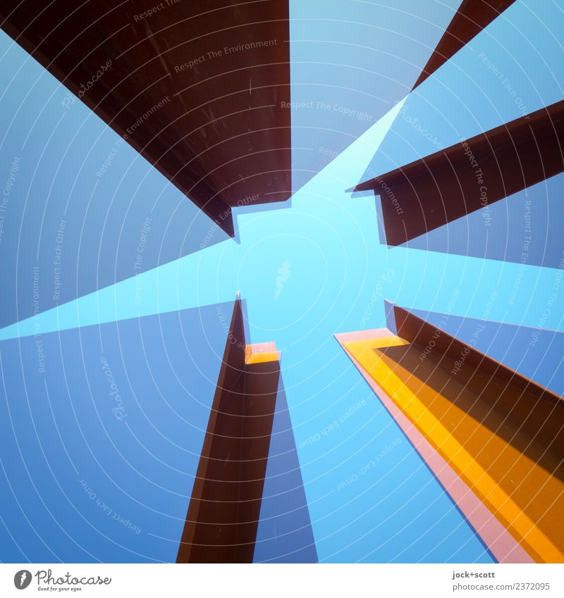 im Quadrat hoch zwei\2 blau Architektur Stil Kunst außergewöhnlich Stimmung Metall Perspektive Wandel & Veränderung planen Streifen lang eckig Doppelbelichtung