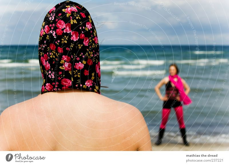 GEGENÜBER Lifestyle elegant Stil feminin Junge Frau Jugendliche Kopf Rücken 18-30 Jahre Erwachsene Wasser Himmel Wolken Sommer Wellen Küste Meer Bekleidung Rock