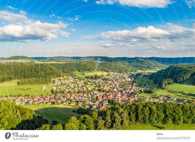 Albstadt Pfeffingen Luftaufnahme Umwelt Natur Landschaft Himmel Wolken Horizont Sonnenlicht Sommer Klima Wetter Schönes Wetter Baum Grünpflanze Feld Hügel