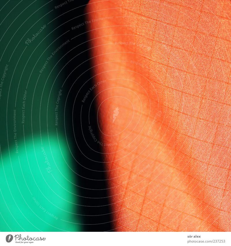 Schattenseite Stoff Stoffmuster schön grün schwarz Farbe orange Muster Falte Strukturen & Formen Design Farbfoto Außenaufnahme Nahaufnahme Detailaufnahme