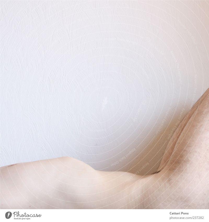 Berg & Tal maskulin Junger Mann Jugendliche Erwachsene Körper 1 Mensch liegen nackt dünn Brustkorb Behaarung Bauch hell weiß Innenaufnahme Tag Nackte Haut