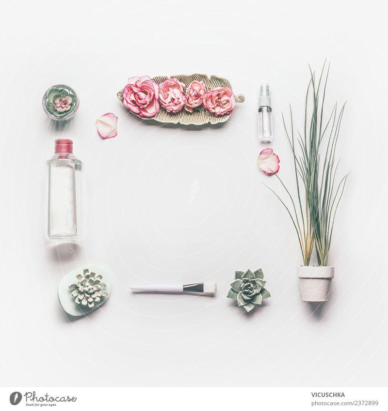 Beauty und kosmetische Hautpflege Rahmen Natur schön Blume Gesicht Gesundheit Hintergrundbild Stil rosa Design Dekoration & Verzierung Wellness Rose