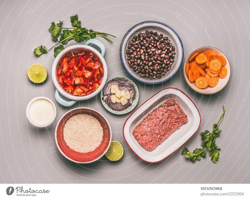 Zutaten für ausgewogene Mahlzeit Lebensmittel Fleisch Gemüse Getreide Ernährung Mittagessen Abendessen Bioprodukte Geschirr Schalen & Schüsseln Stil Design