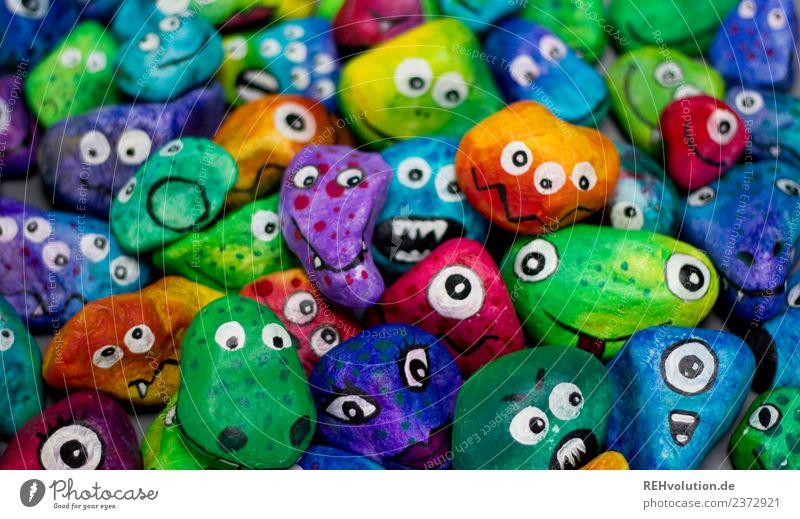 Monstersteine Freude Gesicht Auge außergewöhnlich Stein Zusammensein Freundschaft Angst liegen Kreativität einzigartig Idee bedrohlich Coolness trendy Wut