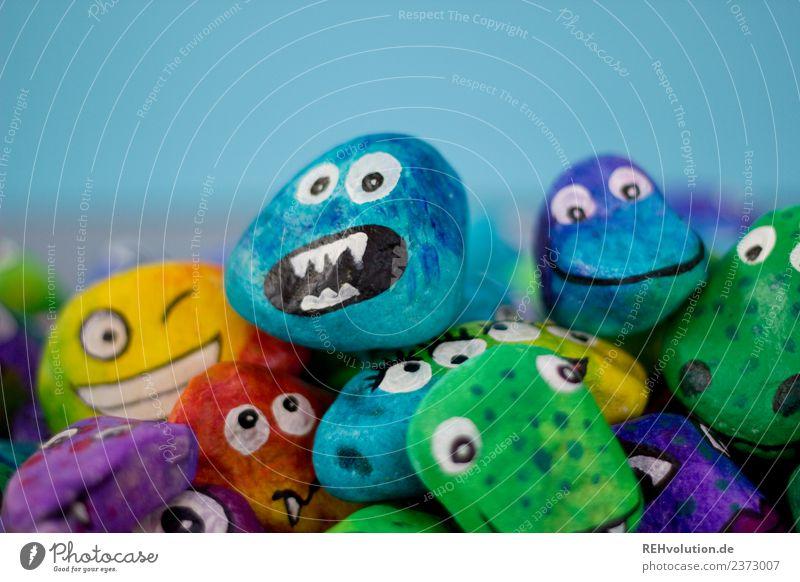 Monstersteine Freude Gesicht Auge lustig Kunst außergewöhnlich Stein Zusammensein Kreativität Lächeln einzigartig Idee viele trendy Wut Inspiration