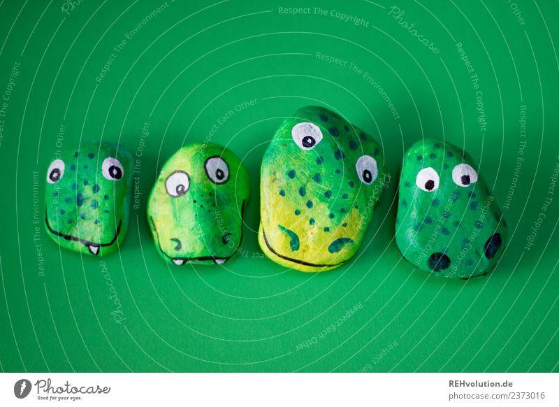 Monstersteine   grün Kunst Tier Krokodil Drache 4 Tiergruppe Tierfamilie Stein außergewöhnlich einzigartig lustig bemalt gebastelt Kreativität Idee