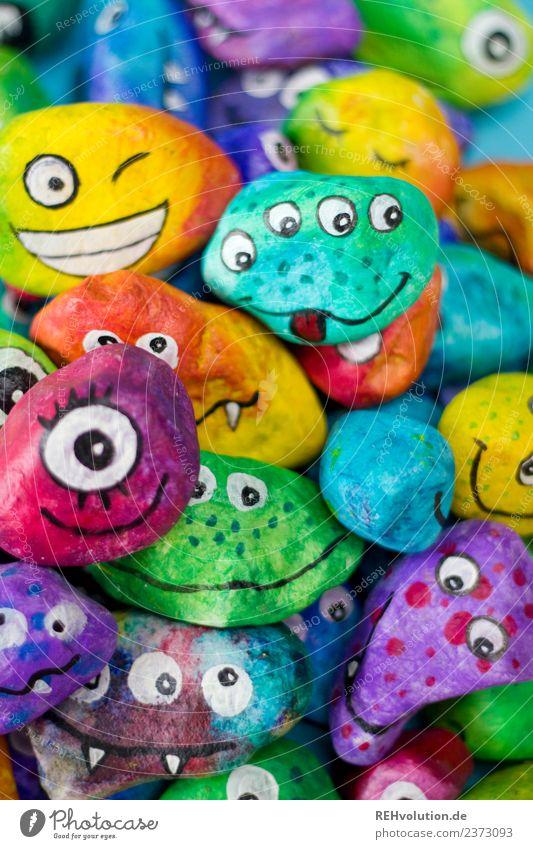 Monstersteine Freizeit & Hobby Kunst Stein außergewöhnlich eckig exotisch einzigartig mehrfarbig Gefühle Stimmung Charakter Auge Ausdruck Typ Verschiedenheit