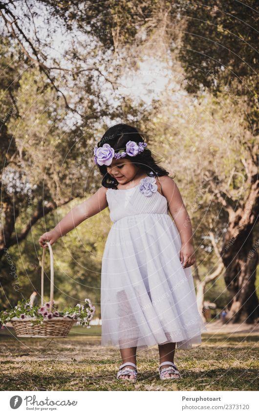 Kleines Mädchen mit Blumenkorb schön Freiheit Sommer Kind Mensch Frau Erwachsene Kindheit Natur Landschaft Gras Wiese Mode Kleid Lächeln klein niedlich grün