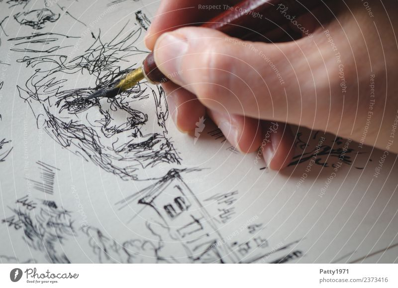 Kritzelgesicht Hand 1 Mensch Kunst Künstler Maler Kunstwerk Gemälde Zeichnung Porträt Gesicht Tusche Tinte Schreibfeder zeichnen ästhetisch bizarr chaotisch