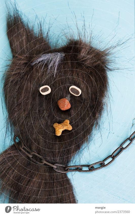 plem plem | Der Kettenhund Tier Haustier Hund Katze Tiergesicht 1 blau braun Fell Hochformat Hundeblick Hundekopf Hundeschnauze Hundefutter Knochen Collage Ohr