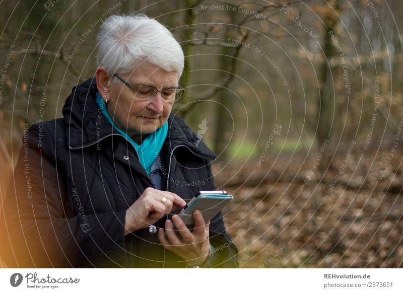 Seniorin mit Smartphone im Wald Frau Mensch Natur alt Landschaft Winter Erwachsene Lifestyle Umwelt Herbst maskulin Kommunizieren Technik & Technologie