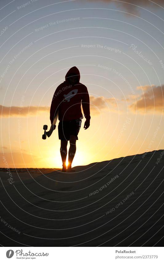 #AS# Dude Kunst ästhetisch Abenteuer Inline Skating Longboard Freizeit & Hobby Sonnenuntergang dünn Sandstrand Fuerteventura Mode Jugendkultur Coolness laufen