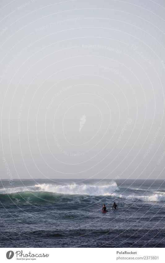 #A# Nasse Zweisamkeit Kunst Kunstwerk ästhetisch Meer Wellen Wellengang Surfer Surfen Wassersport Urlaubsstimmung Farbfoto Gedeckte Farben Außenaufnahme