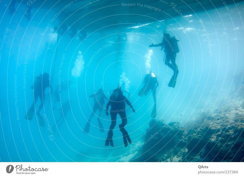 Safety Stop Mensch Wasser Ferien & Urlaub & Reisen Meer Erholung Umwelt Menschengruppe Wasserfahrzeug Schwimmen & Baden nass Tourismus Abenteuer Sicherheit