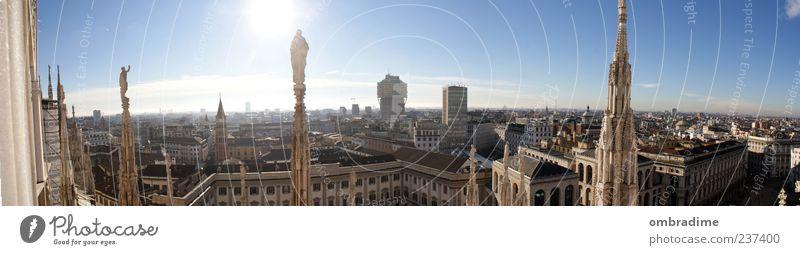 .M.I.L.A.N.O. Stadt schön Sonne Sommer Architektur Gebäude Horizont Hochhaus Kirche Europa Dach Kultur Bauwerk Italien Schönes Wetter Denkmal