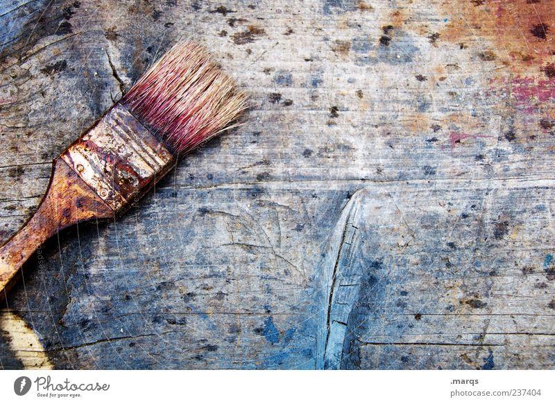 Pinsel Beruf Anstreicher Holz streichen alt dreckig Farbe Kreativität Wandel & Veränderung Borsten Farbstoff Farbfleck Farbfoto Gedeckte Farben mehrfarbig