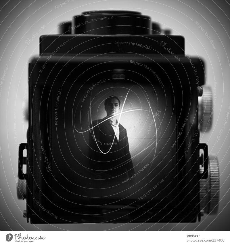 [200] Rollei Self Mensch alt Freude Gefühle Kopf Glück Stil außergewöhnlich maskulin Lifestyle retro einzigartig Filmmaterial Grafik u. Illustration Fotokamera Hemd