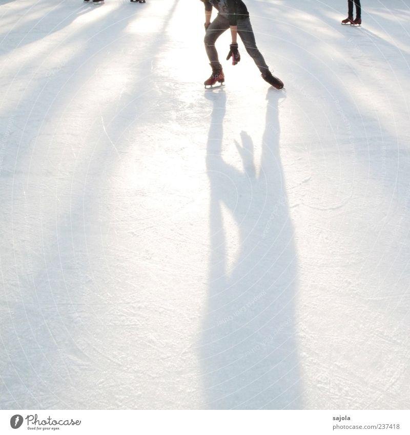 art on ice Sport Wintersport Sportler Eiskunst Eisbahn Eisfläche Mensch Frost ästhetisch weiß Schattenspiel Lichtspiel Farbfoto Außenaufnahme Textfreiraum unten