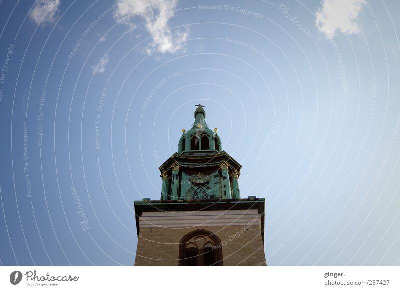 Der Himmel über Berlin Wolken Haus Wand Architektur Mauer Gebäude Fassade Uhr hoch Kirche Schönes Wetter Turm Bauwerk Kreuz