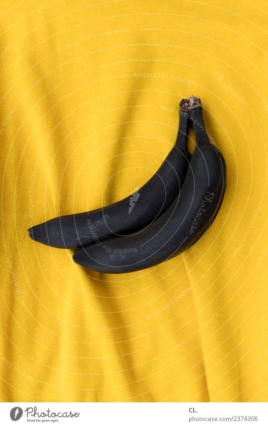schwarze bananen auf gelb Farbe Kunst Lebensmittel außergewöhnlich braun Design Frucht Ernährung ästhetisch Kreativität Idee Zeichen verfaulen Stoff