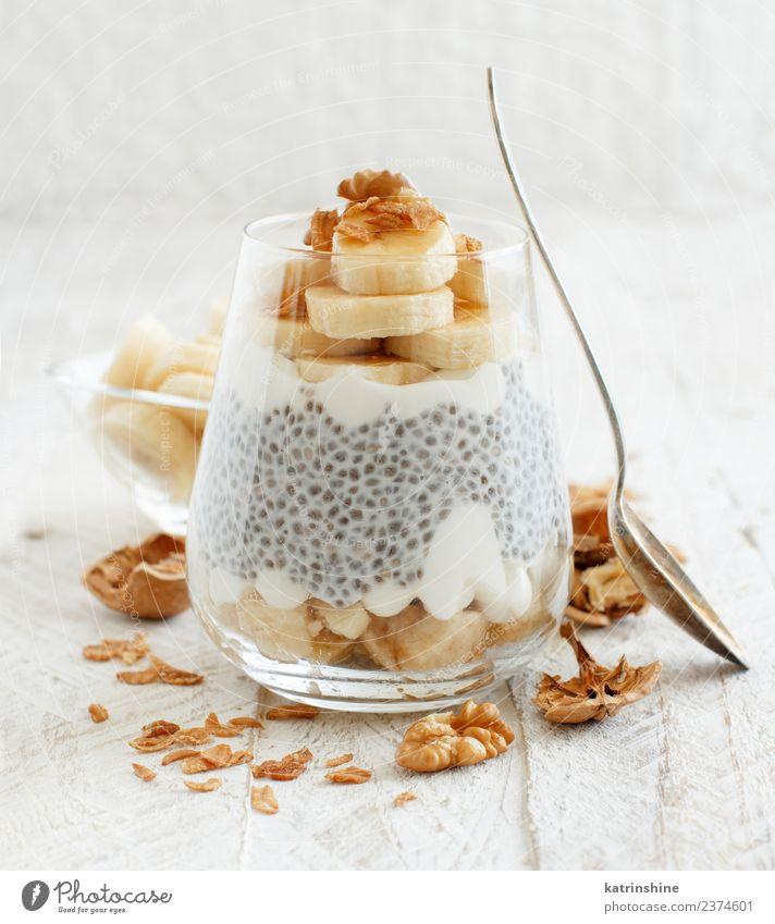 V Joghurt Frucht Dessert Essen Frühstück Diät Schalen & Schüsseln Löffel weiß Müsli Chia Pudding Samen Molkerei Glas Feinschmecker griechischer Joghurt