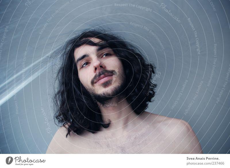 sweet state. Mensch Jugendliche Erwachsene träumen Zufriedenheit außergewöhnlich maskulin 18-30 Jahre Junger Mann einzigartig Lächeln Locken genießen Bart