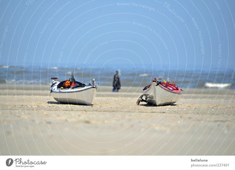 Spiekeroog | Im Doppelpack günstiger. Mensch Himmel Natur Wasser schön Meer Sommer Strand Erwachsene Küste Sand Wasserfahrzeug Schönes Wetter Nordsee Kanu Wolkenloser Himmel