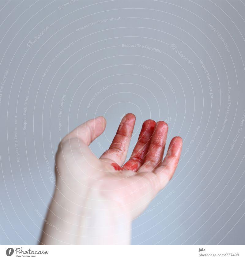 bloody fingers Hand rot Finger Flüssigkeit Schmerz zeigen Blut Unfall geschnitten Wunde Blutung Vor hellem Hintergrund