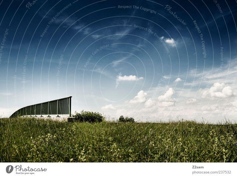 platz zum nachdenken Umwelt Natur Landschaft Himmel Wolken Sommer Pflanze Gras Brücke ästhetisch Ferne Unendlichkeit natürlich schön blau grün Zufriedenheit