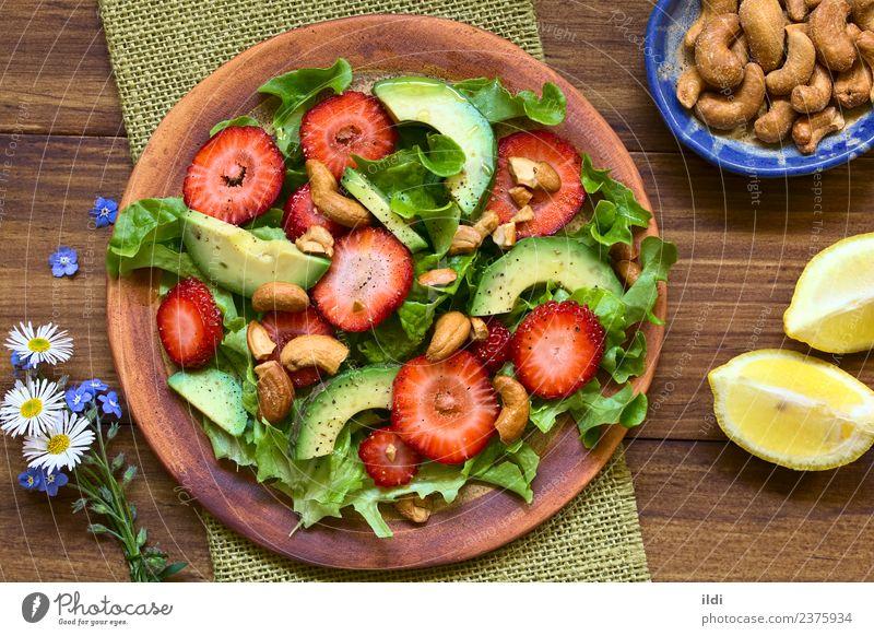 Speise Gesundheit Frucht Ernährung frisch Gemüse Beeren Diät Mahlzeit Vegetarische Ernährung Salatbeilage Zitrone horizontal Erdbeeren roh Snack