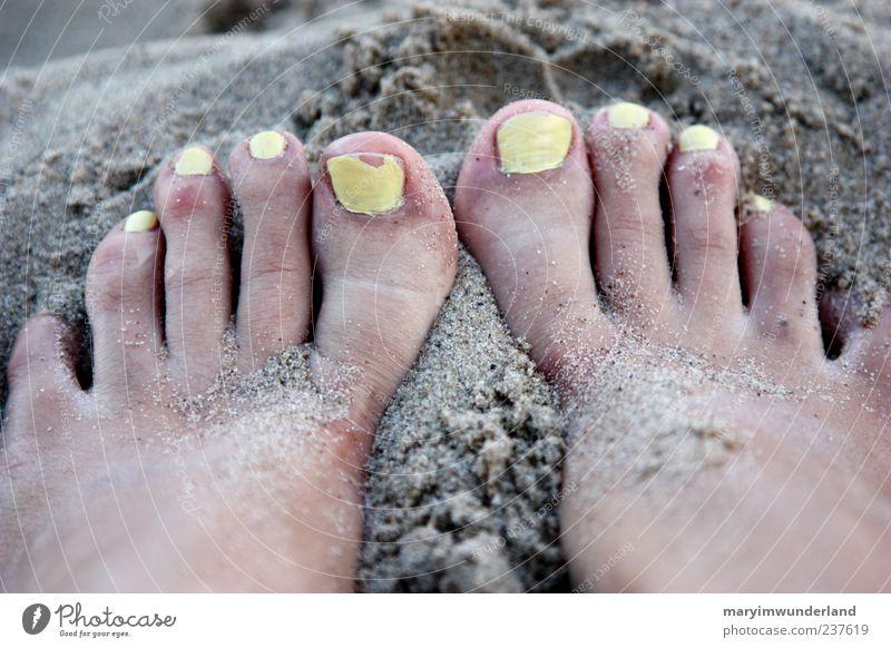 10x gelb. Nagellack Wohlgefühl Sommer Sommerurlaub Strand Meer Fuß Zehen genießen warten ästhetisch Erholung Freiheit Sand Sandkorn Frauenfuß Barfuß Farbfoto