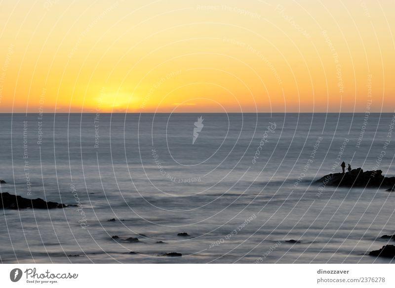 Himmel Natur Ferien & Urlaub & Reisen Sommer blau schön Farbe Landschaft Sonne Meer rot Strand gelb Küste Sand Horizont