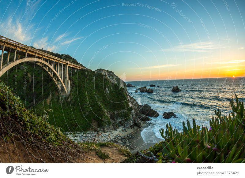 Highway One III Autobahn Kalifornien Brücke Art deco Dämmerung Meer Pazifik Küste Beton Strand PKW Verkehr Nacht Ferien & Urlaub & Reisen Roadtrip Straße Klippe
