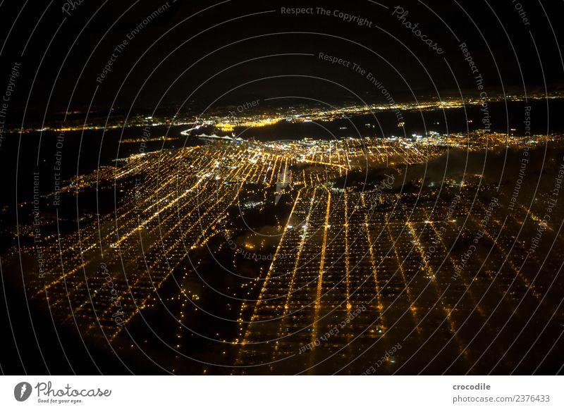 # 753 San Francisco Flugzeug Luftaufnahme Nacht Skyline Licht Park Straße Großstadt Kalifornien Spätflug Oakland Bay Bridge Aussicht Panorama (Aussicht)
