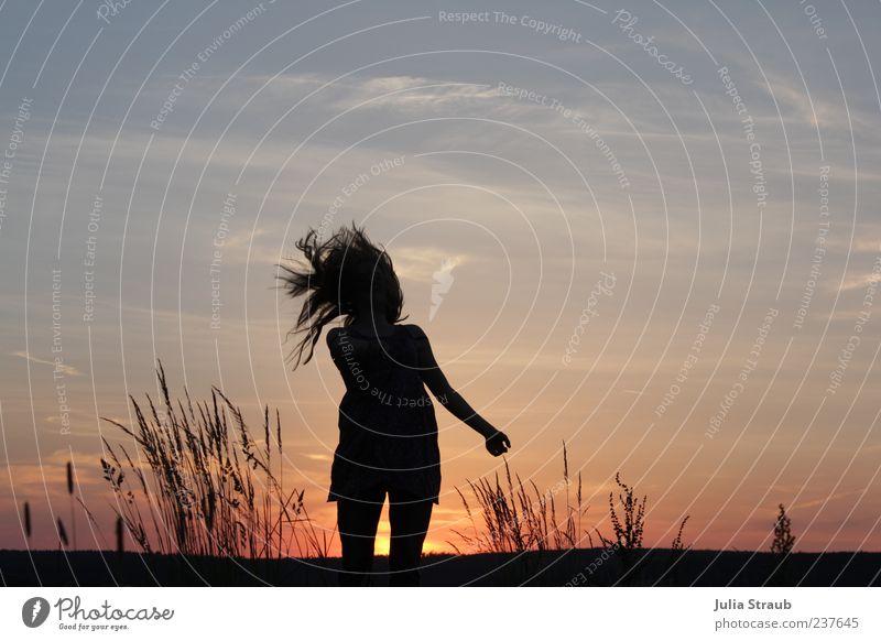 ge-hüpft Mensch Frau Himmel Natur Jugendliche blau Sommer schwarz Erwachsene feminin Leben Gras Haare & Frisuren springen Arme wild