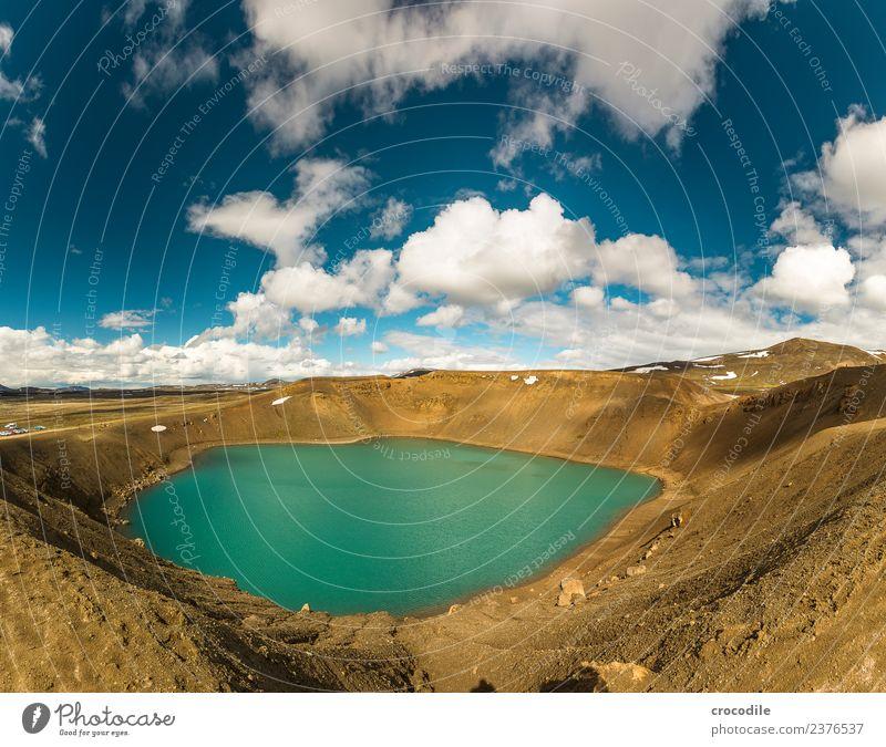 # 755 Vitikrater Island Krafla Norden Vulkan Langzeitbelichtung Wolken Farbfoto Erde trist Wüste kalt Stromkraftwerke Geothermik Geothermisches Kraftwerk Fußweg