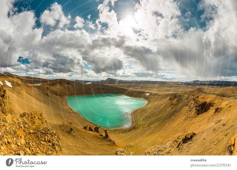 # 756 Vitikrater Island Krafla Norden Vulkan Langzeitbelichtung Wolken Farbfoto Erde trist Wüste kalt Stromkraftwerke Geothermik Geothermisches Kraftwerk Fußweg