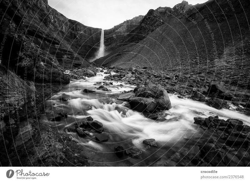 Hengifoss III Wasserfall Island Fluss Schlucht Felsen Langzeitbelichtung Gischt feucht Schwarzweißfoto dunkel mystisch Klippe vulkanisch Vulkaninsel