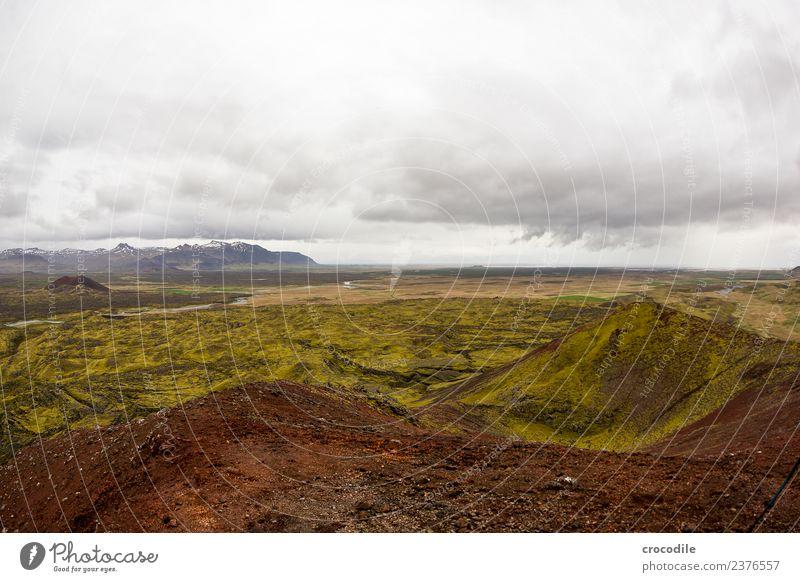 Island I dunkel Vulkan Ringstrasse Moos Flechten Berge u. Gebirge Lava Eruption grün Panorama (Aussicht) wandern Klettern Fluss Gipfel Schneebedeckte Gipfel