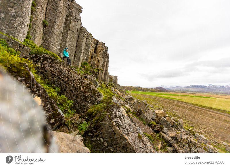 # 759 Gerðuberg Cliffs Vulkan Ringstrasse Moos Flechten Berge u. Gebirge Lava Eruption grün Panorama (Aussicht) wandern Gipfel Schneebedeckte Gipfel Ferne Frau
