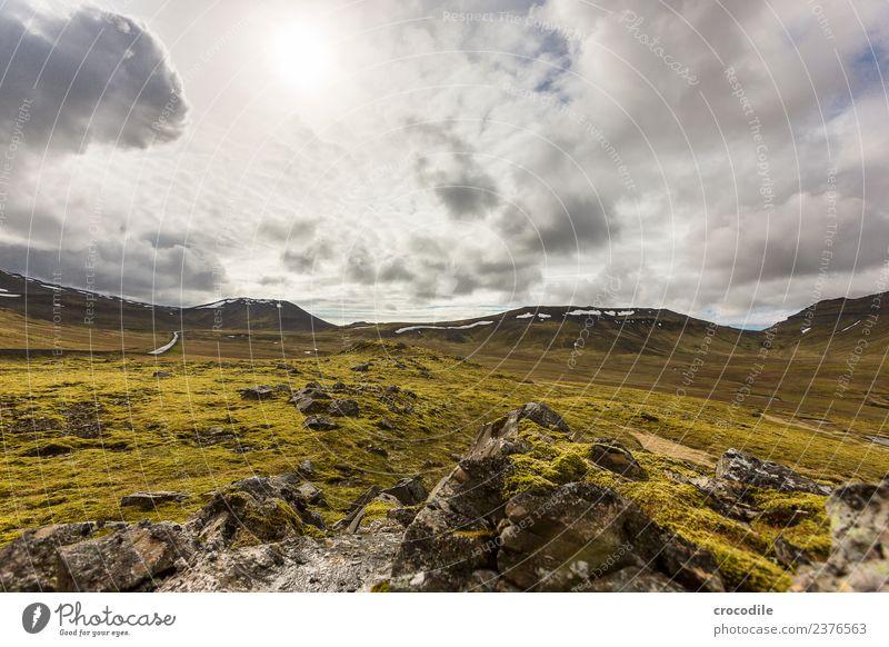 # 758 dunkel Vulkan Ringstrasse Moos Flechten Berge u. Gebirge Lava Eruption grün Panorama (Aussicht) wandern Gipfel Schneebedeckte Gipfel Ferne Sonne